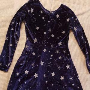 Gymboree XL Sheath Size 14 velvet dress Navy Stars